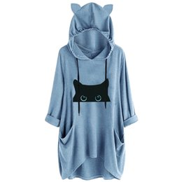 oversized sweatshirts wholesale NZ - Plus Size Women Autumn Cat Ear Hoodies Oversized Long Sleeve Cats Printed Hooded Sweatshirt With Pockets Ladies Hoody Blouse
