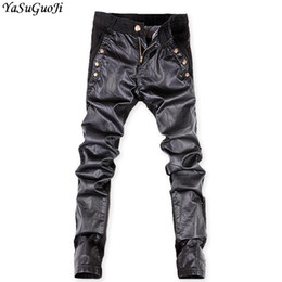 YASUGUOJI New 2019 Streetwear Jean Men Pants Brand Motorbike Skinny Jeans Men Pu Leather Patchwork Black Stretch Jeans