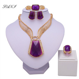 wedding costume jewelry dubai UK - Fani Nigerian Bridal Bead Set Exquisite Dubai Gold Colorful Jewelry Set Women Wedding African Beads Jewelry Set Costume Design Y19051302