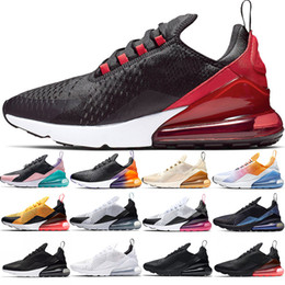 Chinese  270 Men Women Running Shoes Bred Stock X Oreo Triple Black White Teal Hot Punch Gold Designer Mens Trainers Sport Sneakers Size 36-45 manufacturers