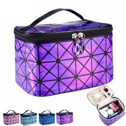 3d fashion bag online shopping - 2019 new fashion PU embossed D laser cosmetic bag round bucket travel handbag storage bag waterproof large capacity wash