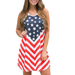 American Flag Dress Xl Australia - Fashion Women Summer Sleeveles O Neck American Flag Printed Dresses Mini Dresses high quality 2019 W418