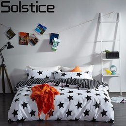 White Stripe Sheet Set Australia - Solstice Home Textile Black White Star Stripe Grid 100% Cotton 4 Pcs Bedding Set Duvet Cover Flat Sheet Pillowcase Bed Linen