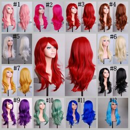 Discount wig cosplay long blonde - 70CM Loose Wave Synthetic Wigs for black women Cosplay wig Blonde Blue Red Pink Grey Purple Long wavy Cosplay Wigs 12 co