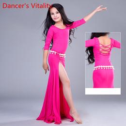 Egypt frEE shipping online shopping - Saidi Shaabi Performance Costume Kids Girl Egypt Dance Robe Piece Set Belly Dance Dress Oriental green