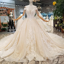 Sparkly Champagne Tulle Australia - Sparkly Champagne Shiny Tulle Lace Ball Gown Wedding Dresses Off Shoulder Bridal Gown Appliques Beading Long Wedding Dress Vestidos De Noiva