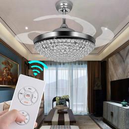 $enCountryForm.capitalKeyWord Australia - Ceiling Fans with Lights 42 Inch Modern Chrome Ceiling Fan Retractable Blades Crystal LED Chandelier Fan with Remote Control Fandelier