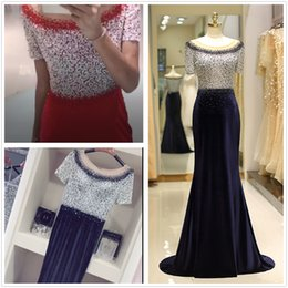 peplum mother bride dresses NZ - 2019 Navy blue Red Long Evening Dresses Arabic Tulle Crystal Ruched Beading Floor Length Pageant Formal Party Gowns Prom Mother of the Bride