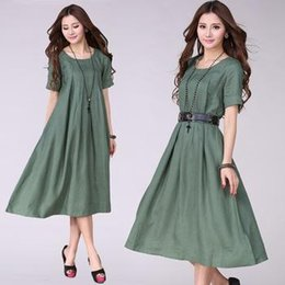 386136cf44 111% Linen New Woman Summer Loose Linen Casual Maxi Dress Short-sleeve O- neck Beach Bohemian Long Dress Plus Size XXXL With Belt