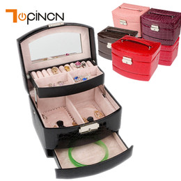 Box Jewelry Storage Organizer Black Australia - 3 Layers Jewelry Boxes And Packaging Leather Makeup Organizer Storage Box Container Case Gift Box Women Cosmetic Casket