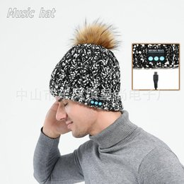 $enCountryForm.capitalKeyWord Australia - New Arrival Bluetooth Knitted Cap with Furry Mink Ball hat Cap Winter Magic Hands-free Music mp3 Hat for woman Men Smartphone warmer