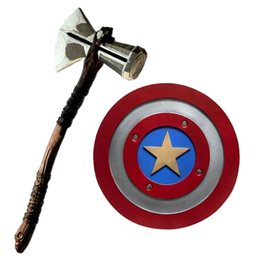 war glasses UK - 1:1 captain america shield Thor Axe Hammer Stormbreaker captain shield vengers War cosplay Weapons tool