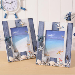 Discount summer home decor Blue Ocean Photo Frame Summer Shell Wood Picture Frame Wedding Room Desktop Decorated Oranments Home Decor ZC0822