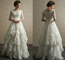 IndIan sImple weddIng dresses online shopping - Vintage Wedding Dresses Half Sleeves Organza Appliques Floor Length Bridal Dresses Bandage Wedding Gowns Indian Muslim Bridal Gowns