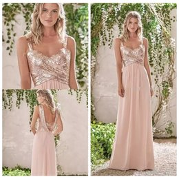 e39f7f6adb25 2019 Bling Bling Rose Gold Spaghetti Straps Sequins Bridesmaid Dress  Chiffon Beach Long Party Dresses Wedding Guest Dress Honor Of Maid