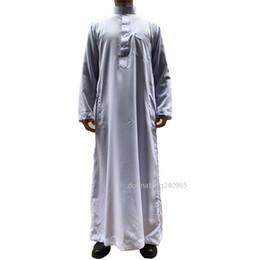 883593c5f83 Muslim Mens Clothing Saudi Arab Long Sleeve Thobe Islamic Jubba Thobe Man Kaftan  Thobe Man Clothing Hiphop DHL