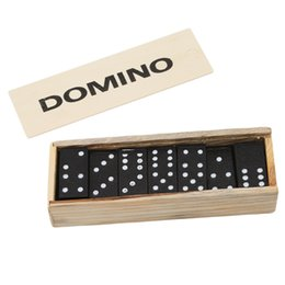 wholesale educational games kids NZ - 28 Pcs Set Wooden Domino Board Games Travel Funny Table Game Domino Toys Kid Children Educational Toys For Children Gifts
