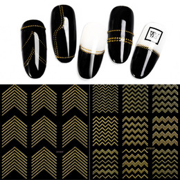 Nail Arts Accessories NZ - Gold Metal 3D Nail Stickers Stripes Wave Line DIY Nail Art Decals Manicure Adhesive Decal Water Slide Nail Tips Stickers accessories