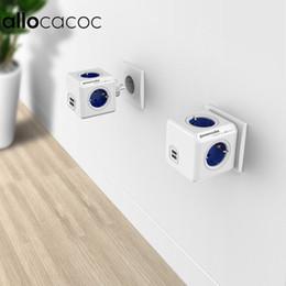 $enCountryForm.capitalKeyWord Australia - Allocacoc Power Strip Extension Design Powercube Socket Eu Plug 4 Outlets Dual Usb Ports Adapter - 6a 250 J190522