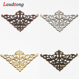 triangle connectors UK - 0Pcs Triangle Metal Filigree Wraps Crafts Connectors For Charm Decoration Spacer Diy Accessories 32x50mm 40Pcs Triangle Metal Filigree Wr...