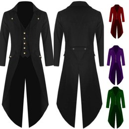 tailcoats costumes Australia - Men Victorian Costume Black Tuxedo Fashion Tailcoat Gothic Steampunk Trench Jacket Coat Frock Outfit Dovetail Uniform For AdultMX190923