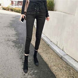 drawstring waist jeans NZ - 2019 Slim Skinny High Waist Jeans Woman Denim Pencil Pants Stretch Drawstring Push Up Pants