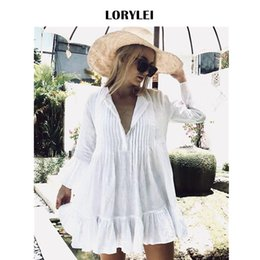 $enCountryForm.capitalKeyWord NZ - Women Summer Long Sleeve White Cotton Tunic Beach Dress Swim Cover Up Plus Size Sexy V Neck Flare Sleeve Pleated Mini Dress N606 J190718