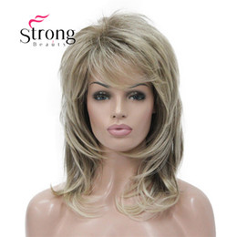 cheap ombre full lace wigs Canada - Cheap Synthetic None-Lace Wigs StrongBeauty Long Shaggy Layered Ombre Blonde Classic Cap Full Synthetic Wig Women's Wigs COLOUR CHOICES