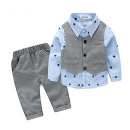 $enCountryForm.capitalKeyWord Australia - Baby Boy Clothes 2019 Autumn Kids Clothes Sets Vest+Shirt+Pants Suit Clothing Set Star Printed Clothes Newborn Formal Suits
