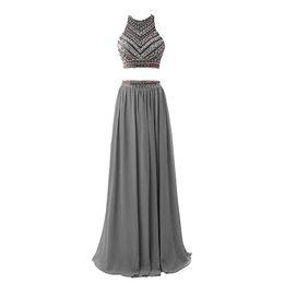 White Vintage Floor Length Dress UK - Women Fashion Luxury Long Chiffon Two Pieces Floor Length Evening Dresses 2019 Robe De Soiree Beading Prom Dresses