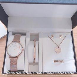 $enCountryForm.capitalKeyWord Australia - Designer Jewelry Set DW Quartz Watch Bracelet Stud Earrings Round Necklace 2019 Luxury Fashion Accessories Gift Box Packaging