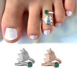 $enCountryForm.capitalKeyWord Australia - Wholesale Beach Jewelry Flower Bud Green Gemstone Adjustable Toe Ring Open Foot Finger Ring Jewelry Accessories Gift