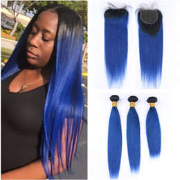 dark blue black hair dye NZ - #1B Blue Ombre Straight Brazilian Human Hair Weave Bundles with 4x4 Lace Closure Black to Dark Blue Ombre Virgin Hair Wefts with Closure