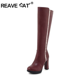 booties winter women UK - REAVE CAT Top quality Woman block heel Knee Boots High heel Riding Boots Lady zipper booties black wine red botines mujer size 8