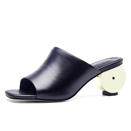 $enCountryForm.capitalKeyWord Australia - Open-toe Women Mules 6 CM High Heels Genuine Leather Summer Slippers Fashion Party Pumps Woman Slides Box packing S113