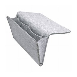 Wall Bedside Table Australia - Felt Bedside Pocket Bed Storage Organizer Bag with 2 Small Pockets for for Bed Table Sofa Organizing Tablet Magazine Cellphone