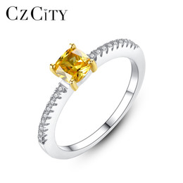 925 Sterling Silver Engagement Rings Australia - PAG&MAG Yellow Cubic Zirconia Paved Designer 925 Sterling Silver Engagement Ring for Women Female Silver Finger Ring