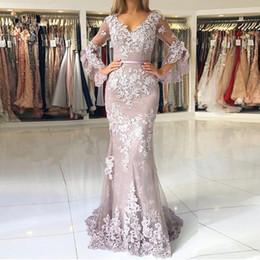Lilac Muslim Evening Dresses with 1 2 Sleeve vestidos largos Lace Beaded  Islamic Dubai Lebanon Mermaid Elegant Long Evening Gown 2019 b96431da6b4a
