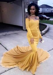Elastic Satin Prom Dresses NZ - Elastic Gold Satin Long Sleeve Arabic Saudi Prom Dresses Mermaid 2019 Cheap Off the shoulder Formal Party Dress Backless Dubai Evening Gowns