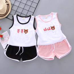 baby cool outfit 2019 - 2019 Summer Chinese style baby girl clothing striped T-shirt tops + shorts sports suit for newborn baby girls outfit coo
