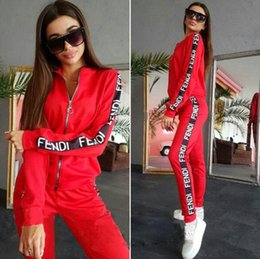 women s fashion pants suits Australia - Hot fashion women pullover zipper casual sport suits printed letter jacket hoodies and pants two piece outfits sets tracksuits size S~XL