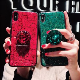 Pop Phone Stand Australia - Luxury Epoxy Fashion Green Pink phone case For iPhone X XR XS Max 6 6S 7 8Plus case with Rhinestone Pop Stand