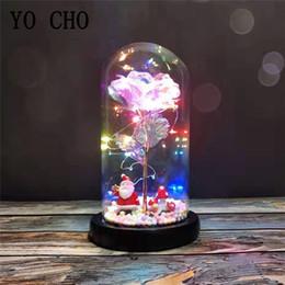 YO CHO Eterna Rose Flower in Glass Dome colorido preservada Flore para Flower Rose presente do dia LED Rose Lâmpadas Simulação dos Namorados em vidro venda por atacado