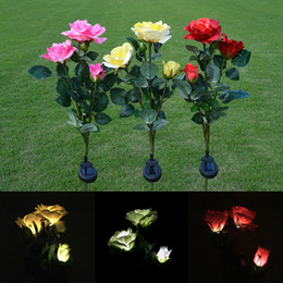 Flower yard lights online shopping - Solar Powered Rose LED Flower Red Yellow Pink White Landscape Decoration Outdoor Garden Yard Lawn Energy Saving Light