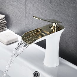 Wholesale Basin Sink Faucet Golden White Chrome Single Handle Waterfall Bathroom Mixer Deck Mounted Taps