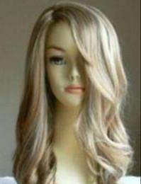 $enCountryForm.capitalKeyWord Australia - WIG free shipping AU025 New fashion long curly blonde wig hair wigs +weaving cap