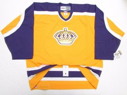 Mens Vintage Jerseys Australia - Cheap custom LOS ANGELES KINGS VINTAGE GOLD CCM 6100 HOCKEY JERSEY stitch add any number any name Mens Hockey Jersey XS-5XL