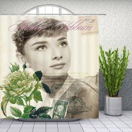 $enCountryForm.capitalKeyWord Australia - Audrey Hepburn Shower Curtains Sexy Women Bathroom Decor Waterproof Polyester Retro Woman Photo Shower Curtain Set 69 X 70 Inch With Hooks