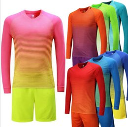 long sleeve soccer uniforms wholesale NZ - New Long sleeve fade style Custom footballsuits uniforms adult children's soccer suit kit personalized printed jerseys soccer practice team