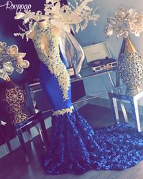 Black Flower Girl Dress Chiffon Australia - Long Prom Dresses 2019 High Neck Mermaid Sleeveless Beaded Lace African Black Girl Royal Blue Flowers Prom Formal Dress